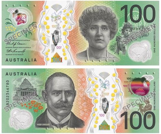Gli specimen delle banconote asutraliane da 100 dollari in arrico entro fine 2020 sono stati svelati il 24 febbraio: conservano colori base, soggetti e misure del tipo in uso finora, ma con tanta tecnologia in più