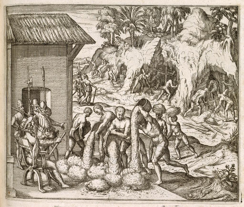 Una miniera d'argento nelle colonie spagnole in un'antica stampa