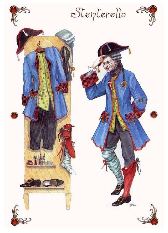Il costume di Stenterello, ultima maschera nata dalla tradizione della commedia dell'arte e ideata dall'attore toscano Luigi Del Buono