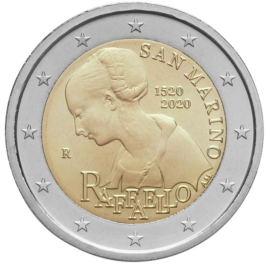 L'elegante dettaglio da un'opera giovanile del Sanzio impreziosisce la prima 2 euro di San Marino del 2020