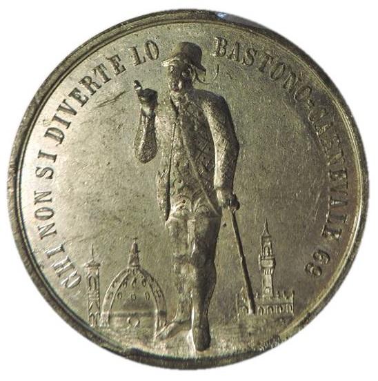 """Sembra """"dominare"""" Firenze dall'alto del Cortile del Belvedere lo Stenterello inciso su questa medaglia del 1869"""