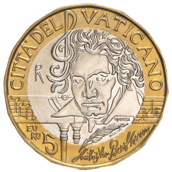 Magnifico, intenso e suggestivo il ritratto in moneta di Beethoven modellato da Orietta Rossi per i 5 euro vaitcani inseriti nella divisionale 2020