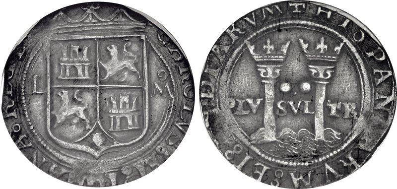 Carlo e Giovanna la Pazza (1516-1556): 2 real coniati a Città del Messico  nel periodo 1542-1555