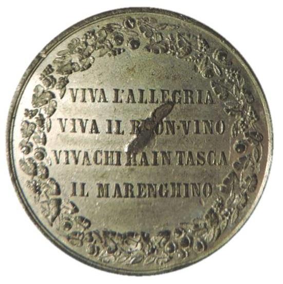 Un breve filastrocca inneggiante al carnevale e alla generosità sul rovescio della medaglia del 1869 probabilmente incisa da Berti Calura