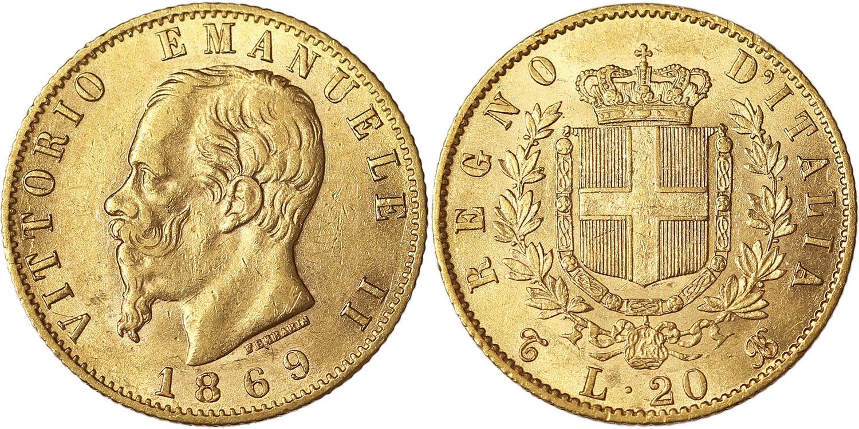 Il marengo da 20 lire del 1869: ne futono coniati dalla Regia Zecca di Torino 185.355 esemplari. Oggi, se in assoluto fior di conio, ha un valore collezionistico che sfiora i 400 euro