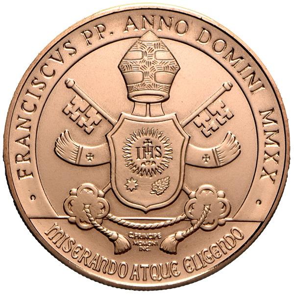 L'araldica di papa Bergoglio rivisitata fra classico e moderno sul dritto della 10 euro di prossima emissione