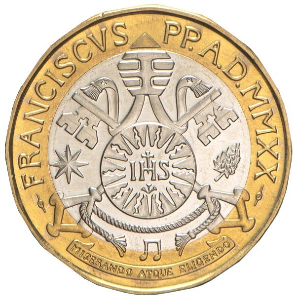 L'araldica di papa Francesco al dritto dei 5 euro in commercio dal 5 marzo prossimo: a richiamare la celebrazione beethoveniana, una nota musicale in basso