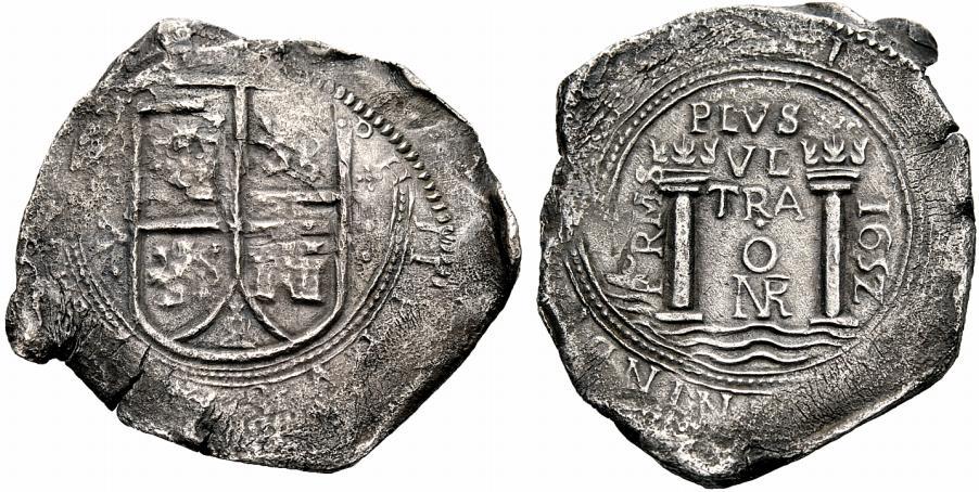 Nuovo Regno, rarissima moneta da 8 real del 1652: fa parte del fiume d'argento monetato che dalle Americhe passò l'Altantico verso l'Europa