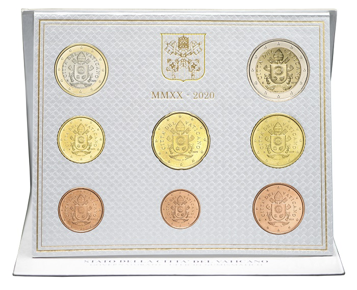 Ecco come si presenta la serie numismatica annuale 2020 del Vaticano comprendente i soli otto valori da 1 centesimo a 2 euro, priva dei 5 euro bimeallici