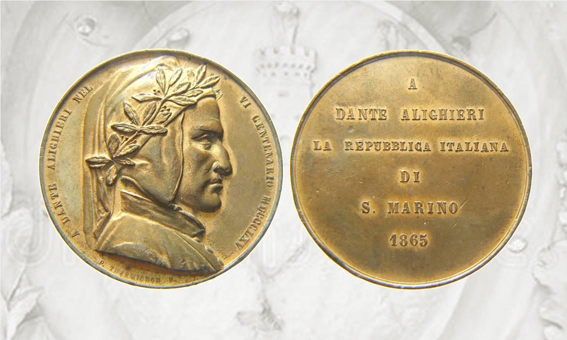 San Marino fa coniare anche belle medaglie come questa del 1869 per Dante Alighieri, modellata da Pietro Thermignon