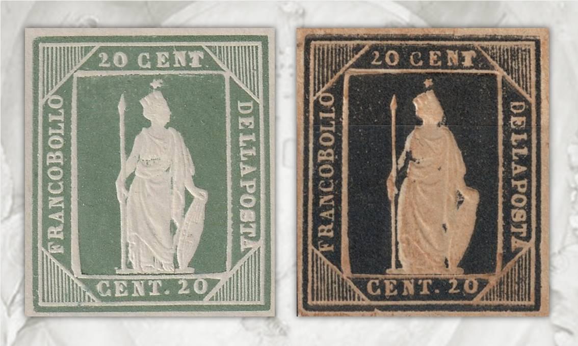 Due saggi di francobolli per il Regno d'Italia ideati e incisi da Thermignon nel 1862 ma mai approvati dalle autorità