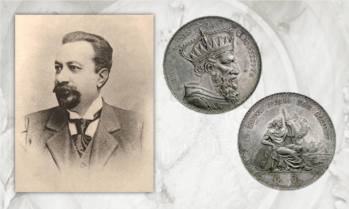 Un'immagine del numismatico Solone Ambrosoli e un rarissimo esemplare delle 5 lire di San Marino del 1867 non emesse