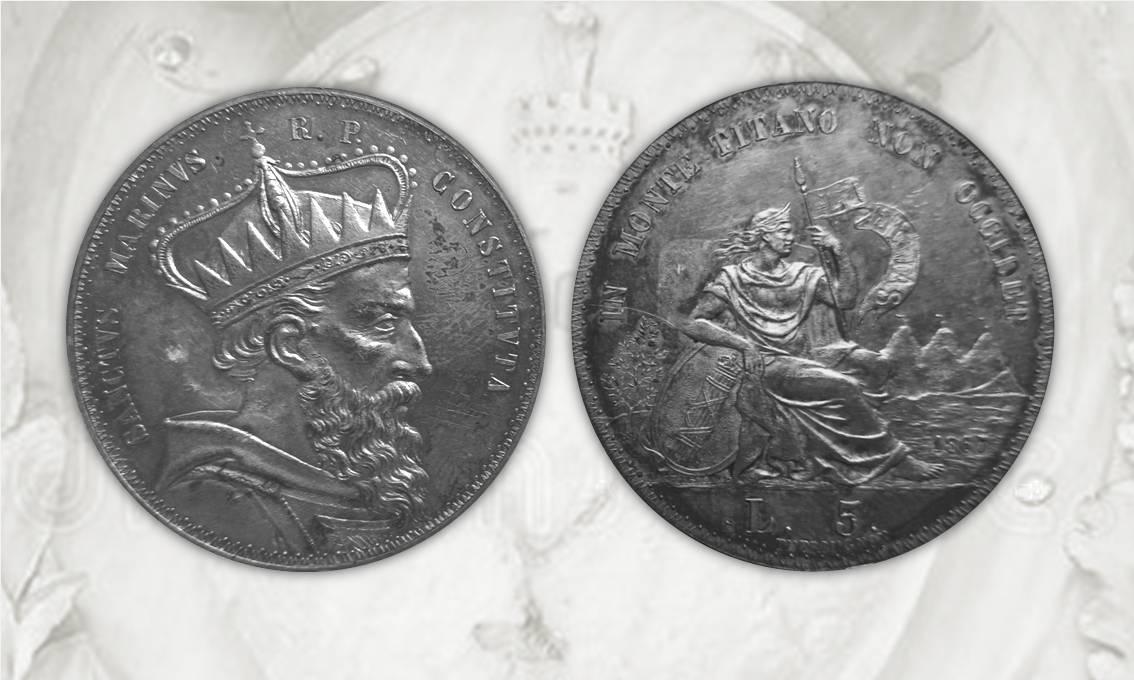 I due esemplari di progetto da 5 lire di San Marino con data 1867 conservati nel Museo di Stato della Repubblica