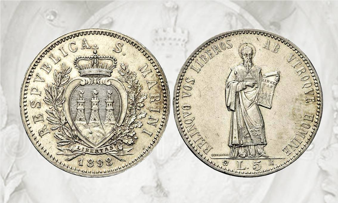 La prima 5 lire di San Marino fu emessa, con stemma e figura del santo, nel 1898 su modelli e coni di Filippo Speranza