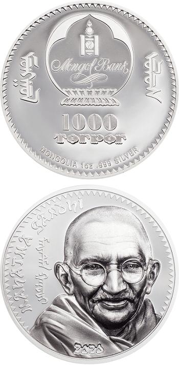 Il rivoluzionario Mahatma Gandhi sui 1000 togrog in argento proof appena emessi dalla Mongolia