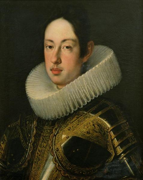 Ferdinando II de' Medici, salito al trono di Toscana in tenera età, fa battere le mezze piastre con il padre del Battista, san Zaccaria, come soggetto