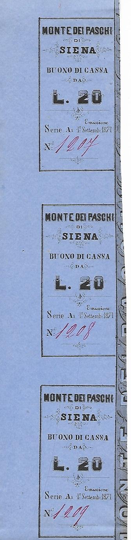 """Il """"segnalibro numismatico"""" segnalatoci dal nostro lettore è formato da tre matrici per altrettanti buoni del Monte dei Paschi di Siena da 20 lire del 1871"""