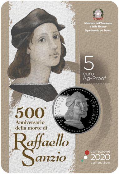 Il blister che ospita la 5 euro proof Raffaello in argento, coniata in 5000 pezzi e quasi esaurita ad appena due settimane dall'emissione