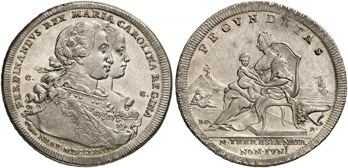 Un bell'esemplare dei 120 grana del 1772 coniati a Napoli per la nascita di Maria Teresa di Borbone: questo esemplare porta la data NEAP. MDCCLXXII lungo il profilo dell'esergo al dritto
