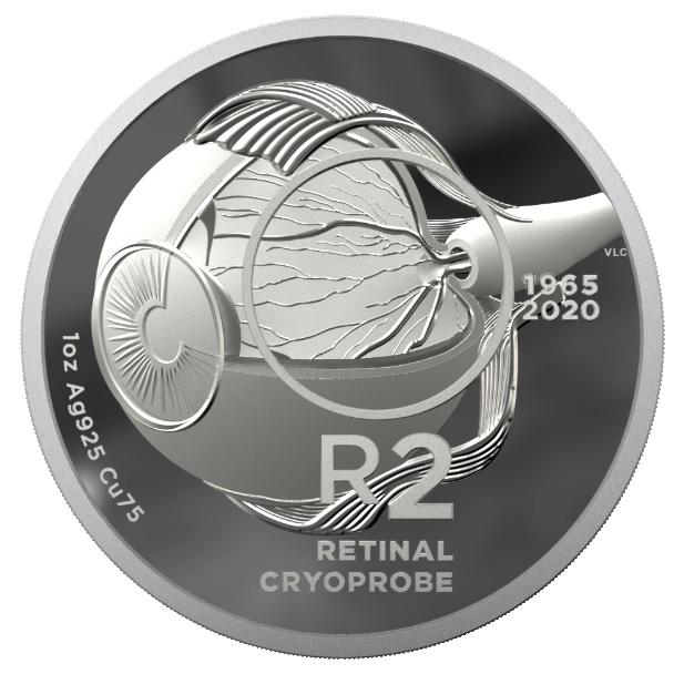 """Il rovescio dei 2 rand in argento proof dedicati alla tecnica del """"retinal cryprobe"""" ideata nel 1965"""
