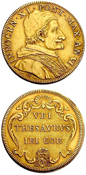 La quadrupla dell'anno IV di Innocenzo XI coniata a Roma