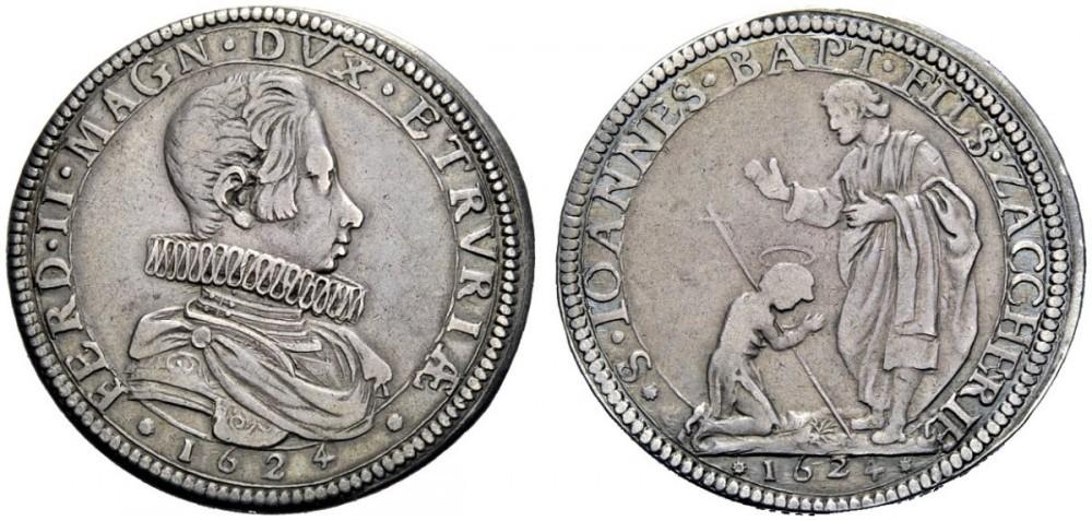 L'inconfondibile profilo del granduca Ferdinando II sulla mezza piastra del 1624, rarissima, al cui rovescio san Zaccaria benedice san Giovanni bambino