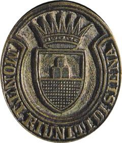 Matrice per sigilli o timbro dei Monti Riniti di Siena (immagine speculare)