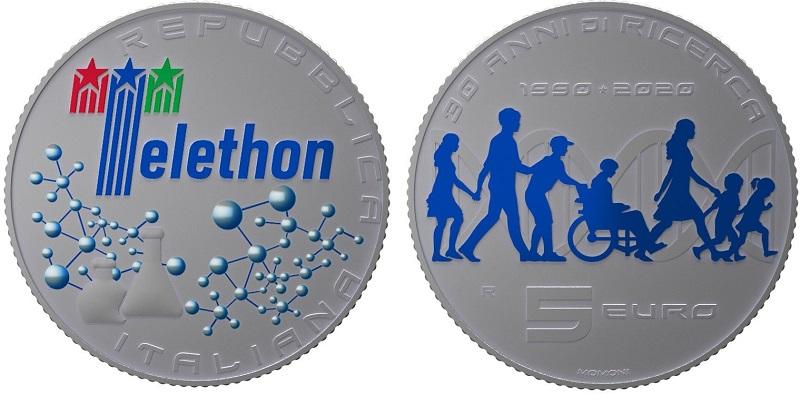 Consegnata a Mattarella la moneta per Telethon: si tratta di una 5 euro in argento fior di conio con inserti di colore