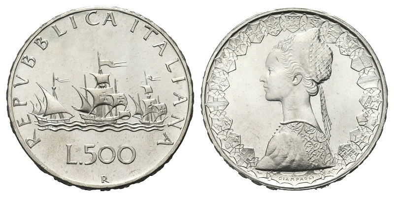 Rimangono un capolavoro numismatico insuperabile, le 500 lire Caravelle in argento d'Italia