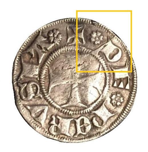 """Ecco la """"spina nel fianco"""" che probabilmente sancì la rarità della moneta: un'evidente frattura del conio di dritto a ore 1 che rese il torsello presto inutilizzabile"""