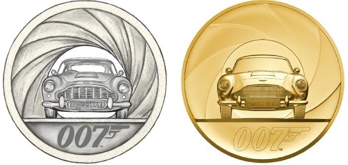 Il bozzetto e il rendering della moneta da 7000 sterline coniata in esemplare unico: l'Aston Martin DB7, auto preferita da James Bond, si mostra in tutta la sua classica eleganza