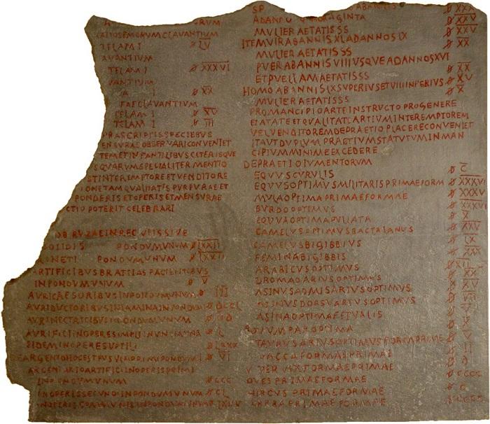 Il frammento più consistente conservatosi dell'editto di Diocleziano su prezzi e monete esposto al Pergamonmuseum di Berlino