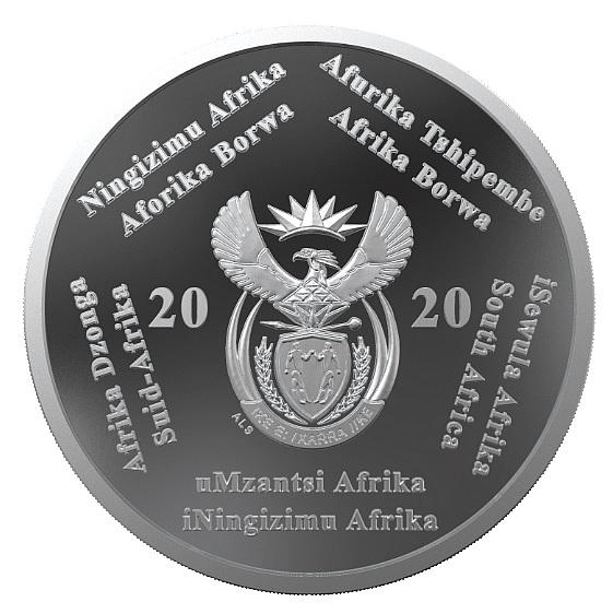 Il dritto dei 2 rand proof con emblema nazionale e nome del paese nelle tante lingue ufficiali