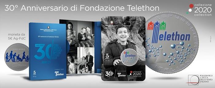 Dal sito di Ipzs, le immagini del blister in astuccio che ospita la moneta da 5 euro dedicata al 30° di Telethon