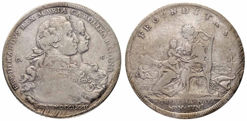 Un rarissimo esemplare della piastra napoletana del 1772 con la data al dritto incisa orizzontalmente; la moneta differisce dall'altra tipologia anche per vari dettagli ulteriori