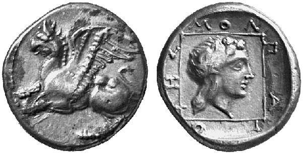 Una bella dracma di Abdera, Tracia, coniata in argento nel periodo 386-375 a.C. (g 2,82 per mm 15 circa): al dritto il grifone