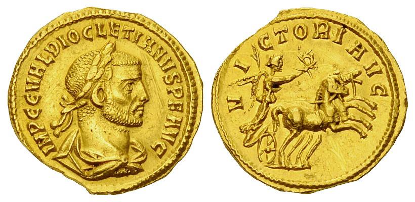 Un magnifico aureo di Diocleziano coniato nella zecca di Cizico nel periodo 284-286 (g 4,53 per mm 19)
