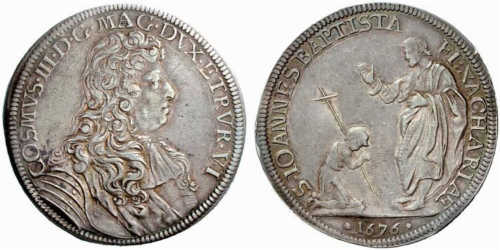Un pregevole esemplare della mezza piastra fiorentina di Cosimo III con la benedizione di san Zaccaria al piccolo Giovanni; magnifico anche il ritratto del granduca
