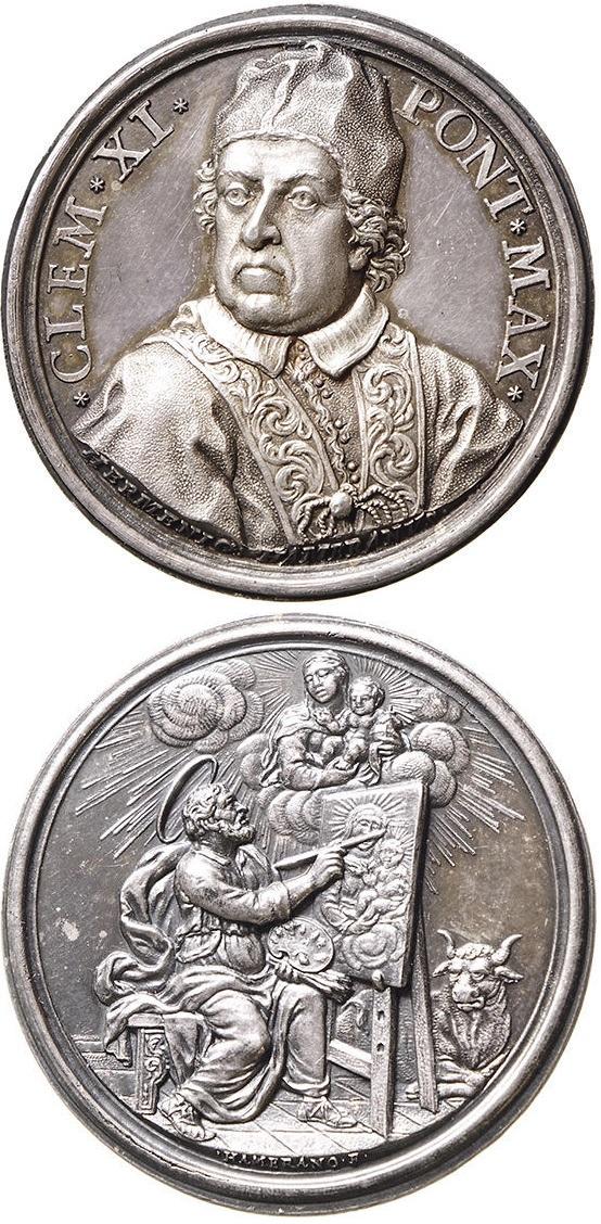 """Un grande classico """"rivisitato"""": medaglia in argento dell'Accademia di San Luca opera di Ermenegildo Hamerani con un eccezionale ritratto del papa di tre quarti"""