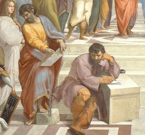 """Il particolare de """"La Scuola di Atene"""" scelto per il rovescio delle celebrative dedicate ai 500 anni dalla morte di Raffaello"""