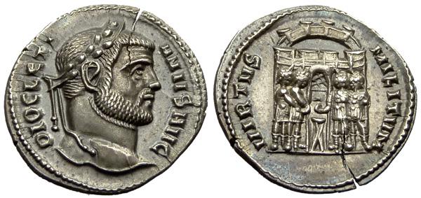 Argenteo del 294-295 battuto con ritratto di Diocleziano nella zecca di Siscia (g 3,07 per mm 18)