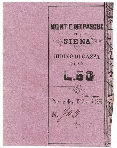 Matrice di un buono di cassa senese da 50 lire emissione 1871 in carta rosa (courtesy www.cartamoneta.com)