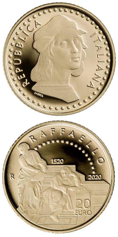 La moneta da 20 euro per Raffaello ha avuto tiratura di 1000 pezzi, tutti già venduti