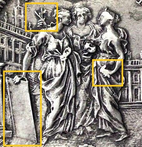 Le tre figure al rovescio e, in evidenza, gli attributi che le identificano come tre delle arti: Pittura, Architettura, Scultura