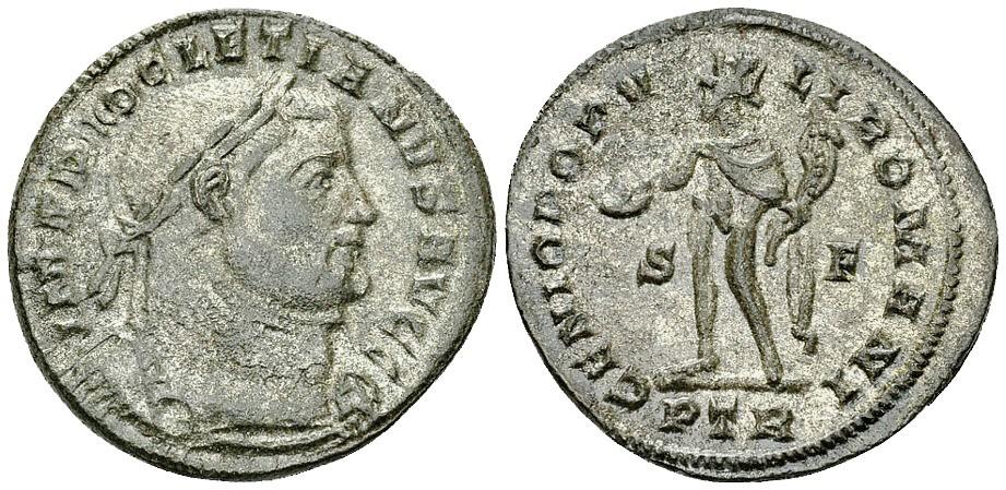Un bel follis in bronzo di ampio modulo battuto a Treviri nel 303-305 (g 8,81 per mm 27)