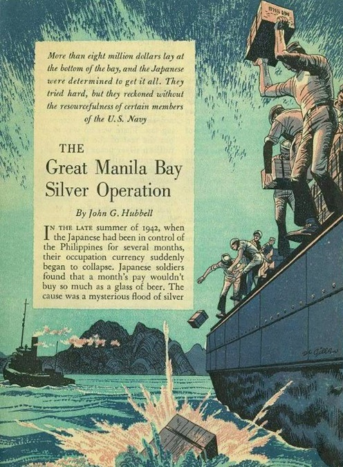 Uno dei tanti articoli pubblicati negli Stati Uniti nell'immediato dopoguerra e che ricostruiscono la storia del tesoro di Manila occultato nell'oceano nel 1942