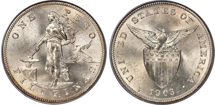 Moneta in argento (mm 38,0, g 26,95) da un peso filippino coniata nella zecca di San Francisco; fino al 1935, di fatto, l'arcipelago fu un possedimento coloniale degli Stati Uniti