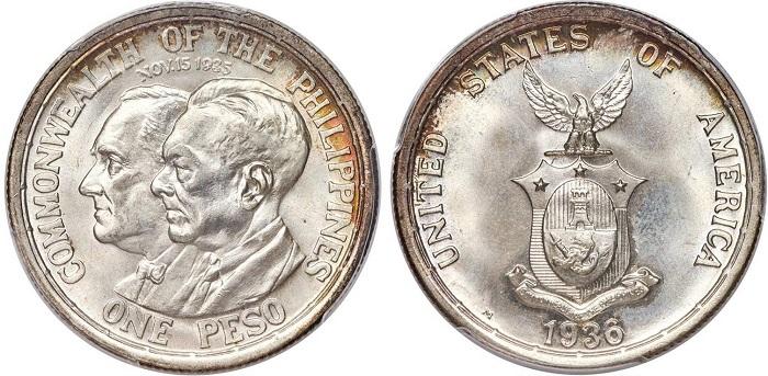 Nel 1936 le Filippine diventano protettorato statunitense e su questa moneta commemorativa da un peso coniata a Manila i presidenti Roosevelt e Quezon vengono ritratti assieme