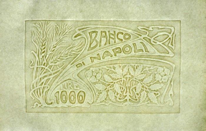 """Un elegante e moderno decoro """"Liberty"""" con spighe di grano, fiori e foglie per la seconda """"millelire"""" in filigrana appena individuata in un'importante collezione privata"""