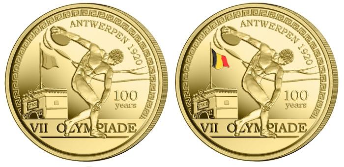 I rovesci, senza e con bandiera belga a colori, della 2,5 euro che Bruxelles emetterà in maggio per ricordare un secolo dalle Olimpiadi che videro cimentarsi nello sport il mondo appena uscito dalla Grande guerra